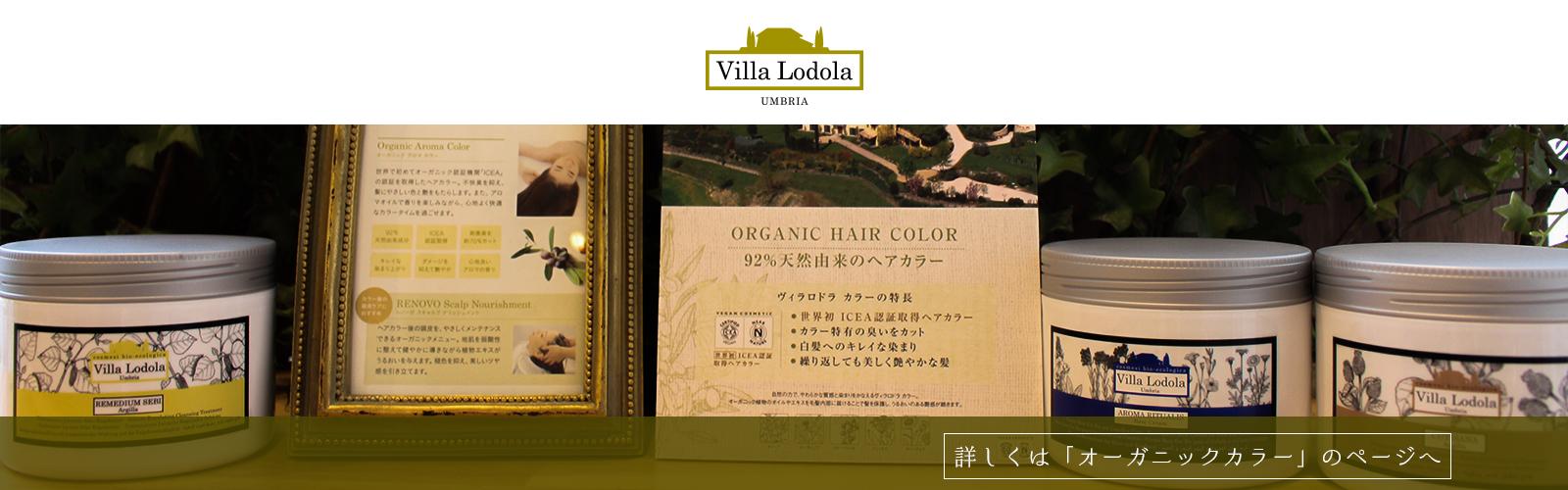 天然由来のヘアカラー「Villa Lodola」を使用しております